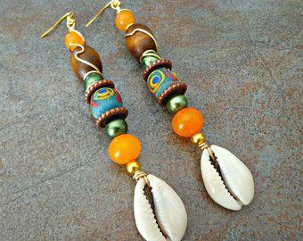Hammered Brass Drop Earrings Bohemian by KheperaAdornments on Etsy