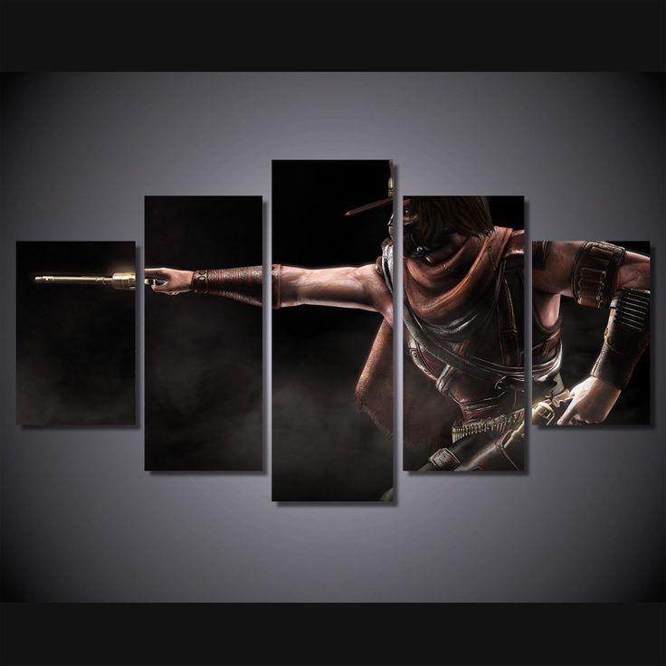 5 Panel Mortal Kombat Game Framed Canvas Wall Art