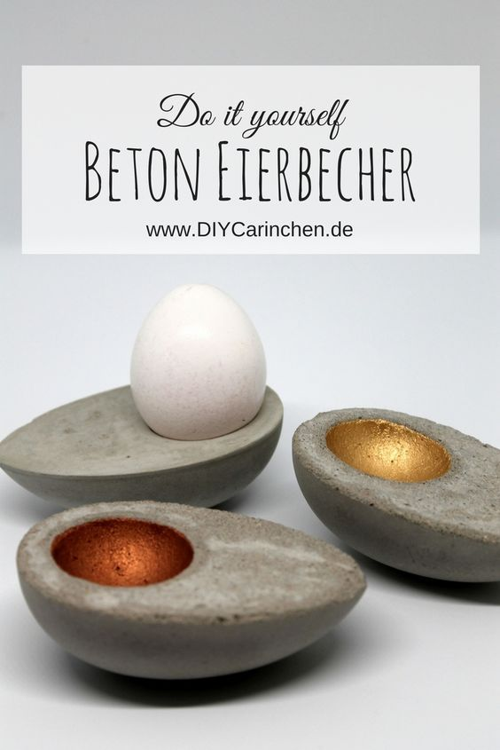 DIY Egg Cup made of concrete in egg form quite simply do it yourself! With this guide it works in any case! – Basteln