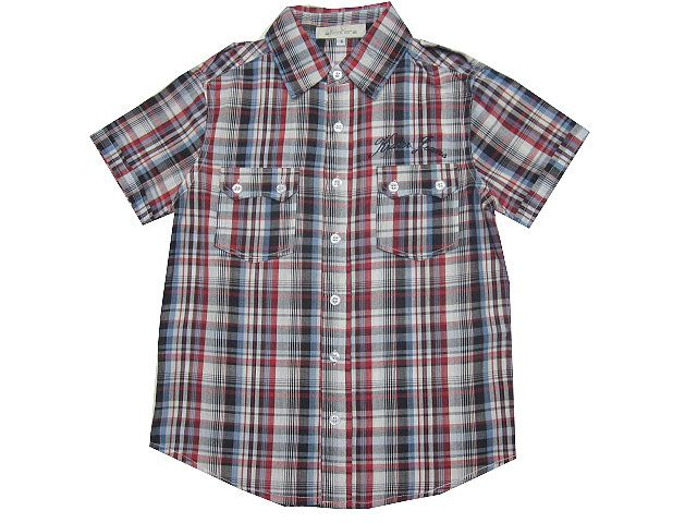 camisa cuadros, camisa niño, camisa manga corta, camisa cuadros rojos, - Camisas para Niño de 2 a 16 Años - Mundo Kiriko