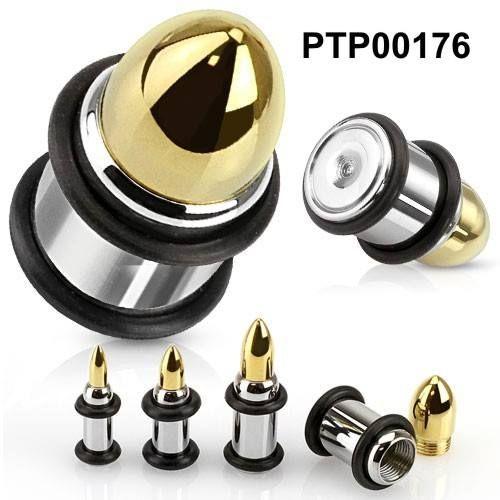 Plug do ucha ve tvaru nábojnice PTP00176. Plug je vyrobený z chirurgické oceli 316l. http://www.piercingate.cz/plug-do-ucha-nabojnice-ptp00176