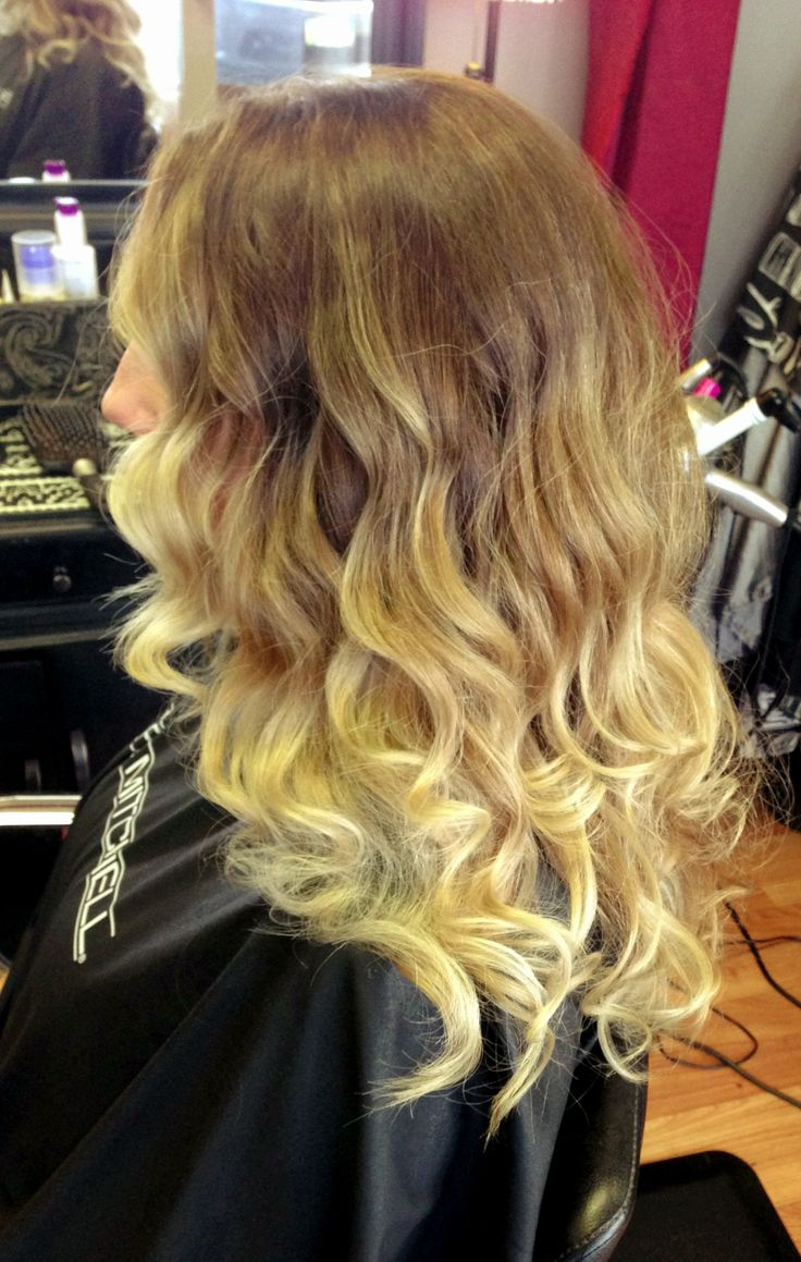 Ash ombre curled with Hot Tools Bubble Wand