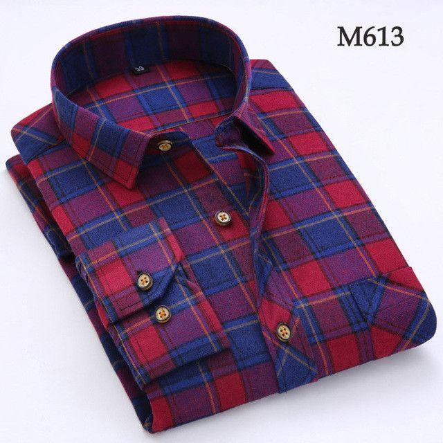 Autumn Men Shirts 2016 Long Sleeve Mens Casual Shirts Cotton Plaid Shirt Men Flannel Warm Mens Check Shirt Plus Size Slim Fit