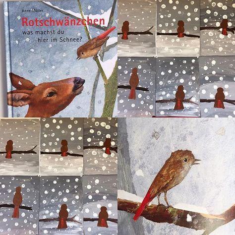 """Passend zum Bilderbuch """"Rotschwänzchen was machst du hier im Schnee?"""" ❄️ haben wir heute ein Bild gestaltet! #kinderkunst #kleineKünstler #rotsc…"""