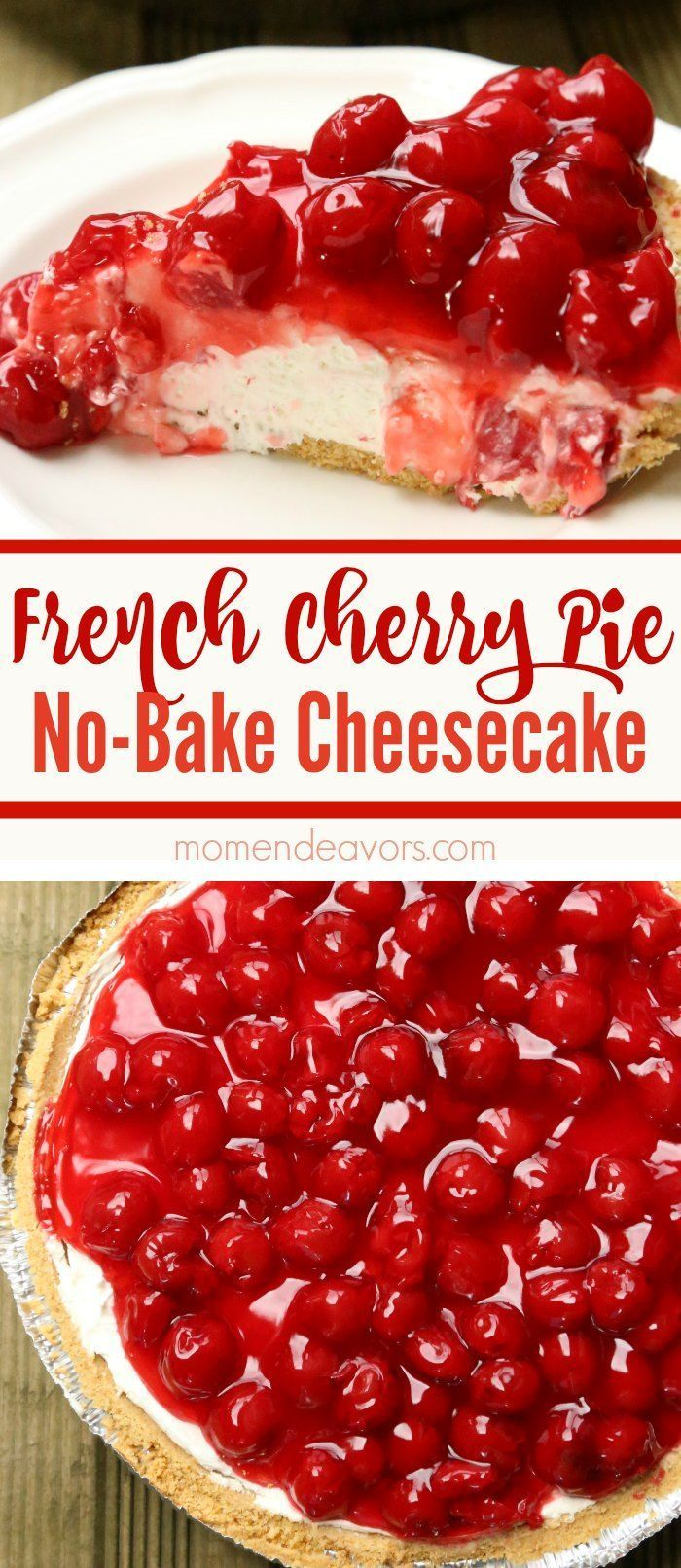 French Cherry Pie No-Bake Cheesecake - A delicious easy-to-make dessert!