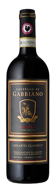 """Chianti Classico DOCG Riserva - Castello di Gabbiano-""""Aromas of plum and dried cherry, with hints of flowers, follow through to a medium body, with fine tannins and a fresh, fruity aftertaste. A clean, traditional, no-nonsense Chianti Classico."""""""