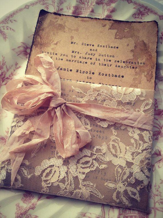 Lace Invitation High End Handmade Wedding Bridal by ShabbyScrap, $8.00