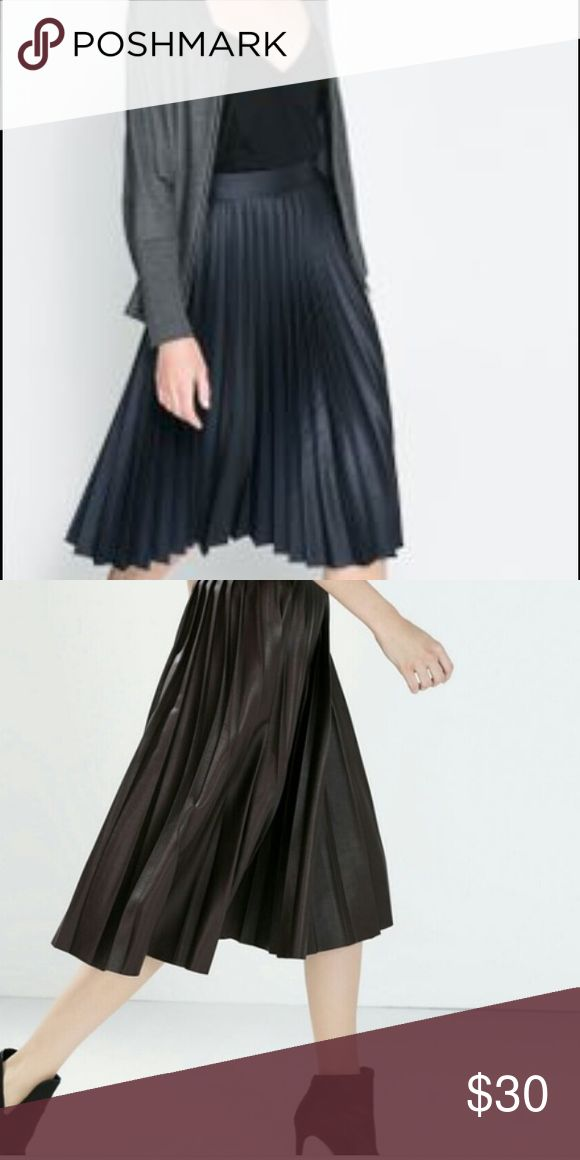 Zara black leather pleated skirt Black leather pleated skirt. Hits right at the knee. Zara Skirts Midi