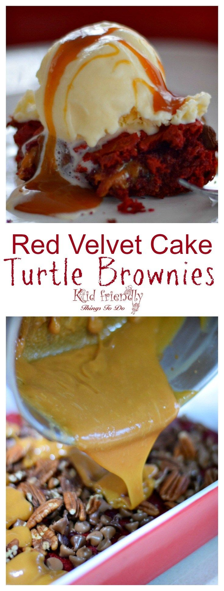 Red Velvet Cake Turtle Brownie Recipe with Red Velvet Cake Box Mix - Oozing Caramel, Easy and delicious! www.kidfriendlythingstodo.com
