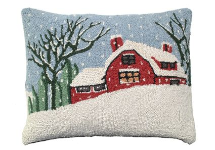 Snowy Day Hooked Wool Pillow Hand Hooked Wool Pillows
