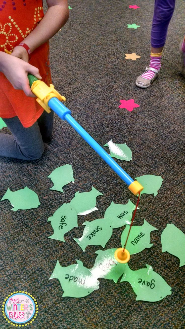 My students love this center, it is easy to make too! Die cut a few fish, staple an end, and write spelling or sight words on the fish. I bought this pole at Lakeshore Learning but you can easily make one with a stick and magnet!