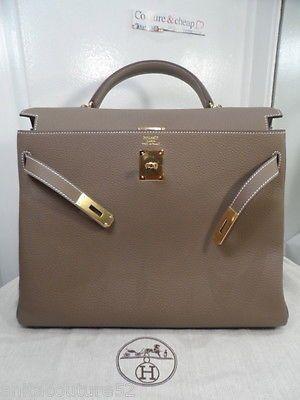 HERMES  KELLY BAG  35 ETOUPE  TOGO  Leder Gold Sac ORIGINAL  jetzt  13990.- €13990   www.coutureandcheap.eu