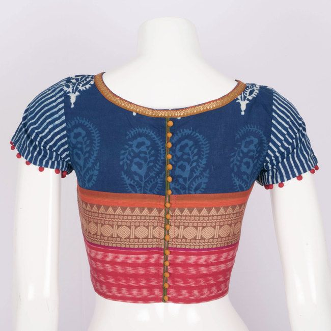 Svasa Hand Block Printed Ikat Cotton Blouse 10008871 - Size 34 - back - AVISHYA.COM