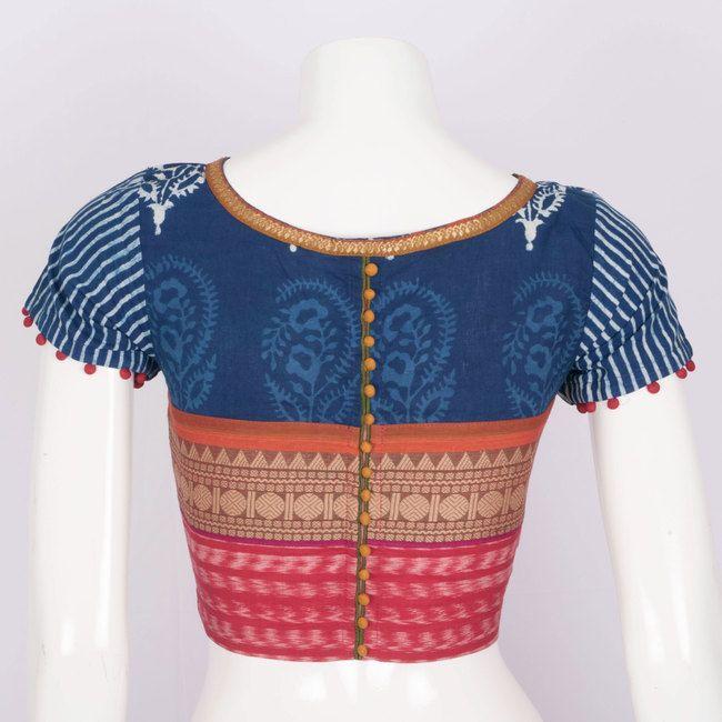 Svasa Hand Block Printed Ikat Cotton Blouse 10008871 - Size 34 - back - AVISHYA.COM