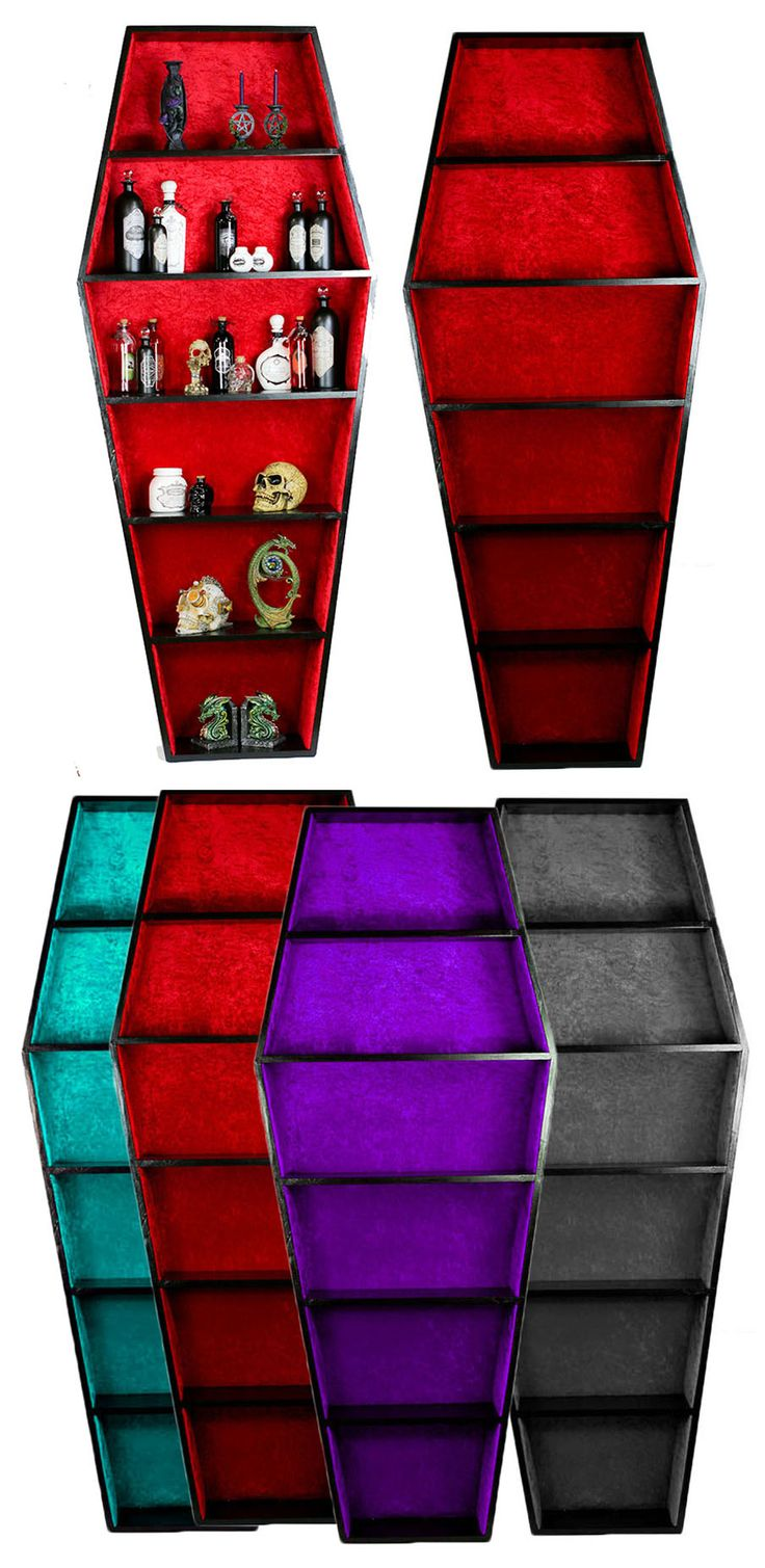 Black Coffin Bookcase with Red Padded Material Lining, made by Angel Clothing. 7ft tall. A Black Coffin Shaped Book Case with high quality padded material lining in red (Purple, Black, Blue etc). This is an amazing piece of Gothic Furniture! A 7 foot bookcase in a classic coffin shape with sumptuous red material lining to protect your books and ornaments! Hand made to order. - 215cm tall x 95 cm wide x 24 cm deep. (7 foot tall) From ANGEL CLOTHING