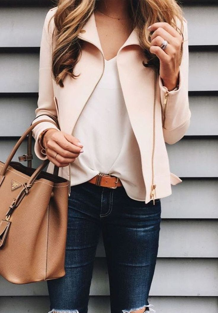 80 Easy Spring Outfits Can Wear to Work never think i'd actually wear a coloured leather jacket but love this outfit idea