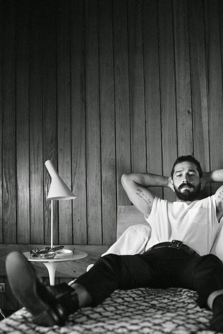 Shia LaBeouf captured by Craig McDean and styled by Karl Templer, for the November 2014 coverstory of Interview magazine.
