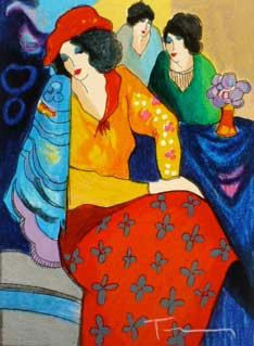 "Itzchak Tarkay, ""Blue Mood""  If I had every Tarkay painting it still wouldn't be enough. I'm addicted. <3"