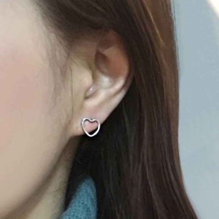 Hollow Heart Stud Earrings   mixxmix   Shop Korean fashion casual style clothing, bag, shoes, acc and jewelry for all
