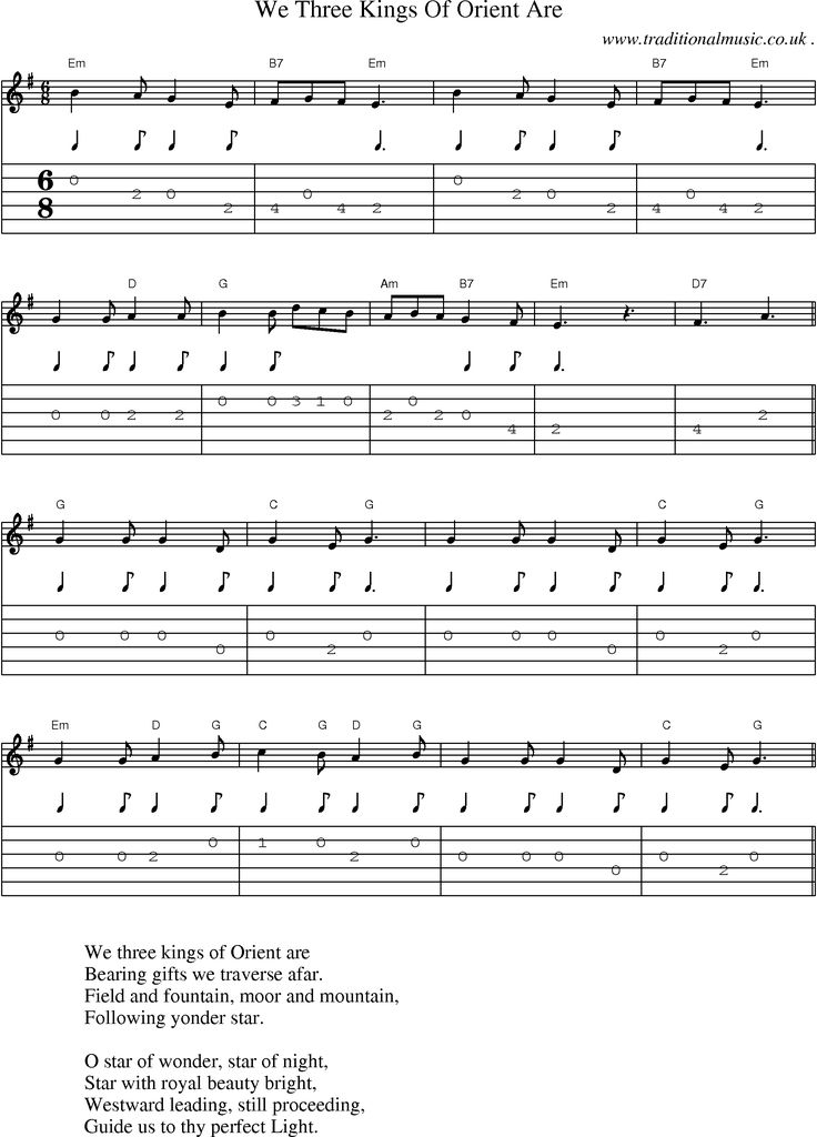 music score and guitar tabs for we three kings of orient are sheet music pinterest guitar. Black Bedroom Furniture Sets. Home Design Ideas