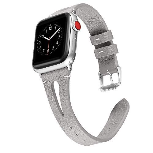 fb53089d7cc Secbolt Leather Bands Compatible Apple Watch 38mm 40mm Series 4 3 2 1 Slim  Strap with