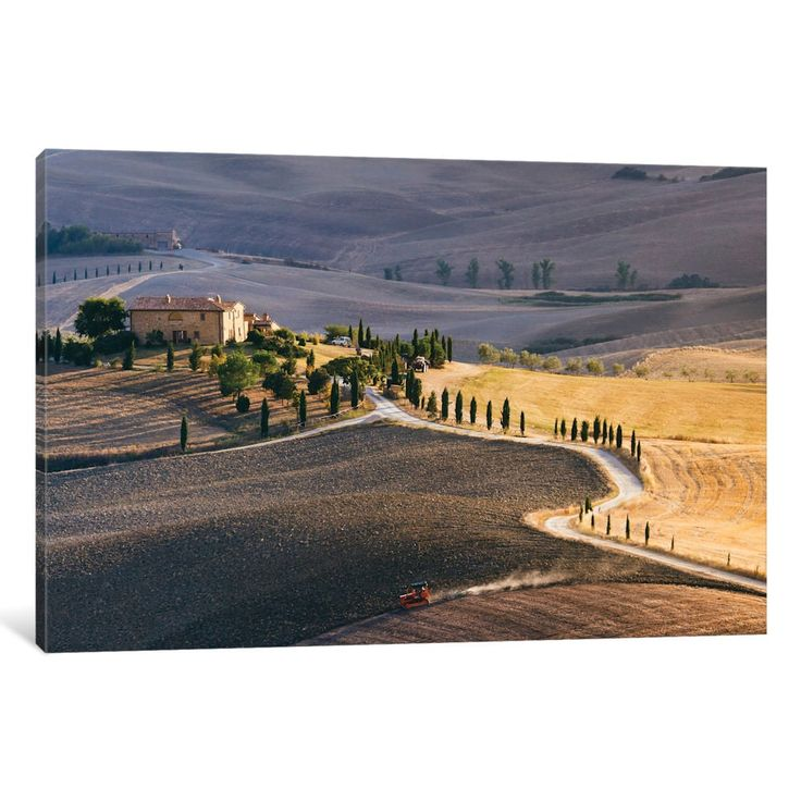 iCanvas 'Sunset Over Terrapille Farm, Val d'Orcia, Tuscany, Italy' by Matteo Colombo Canvas Print