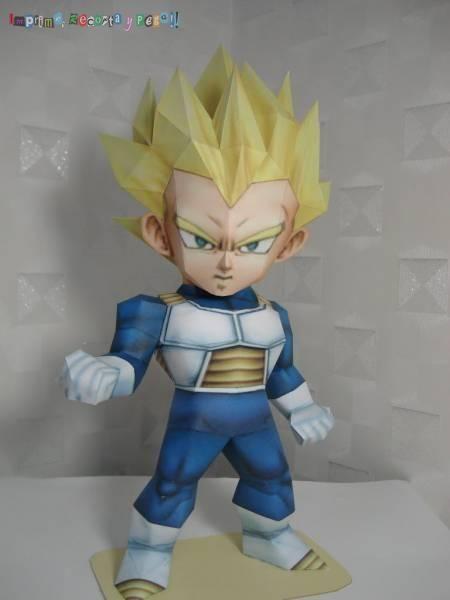 3D Paper Model Dragon Ball Vegeta Super Saiyan DIY Handmade Q version Model