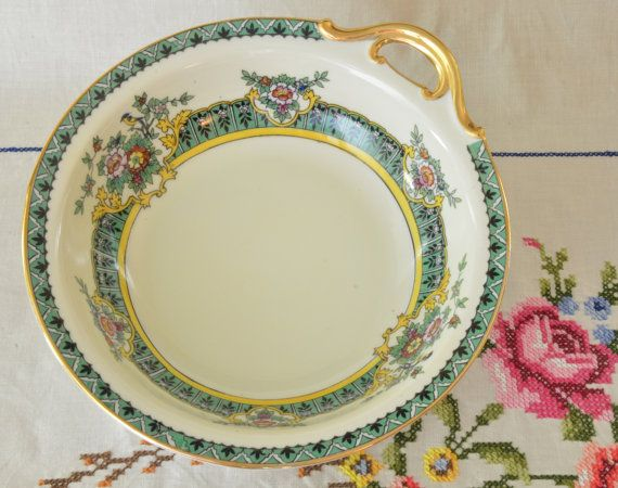 Hand painted Noritake bowl with gold gilding