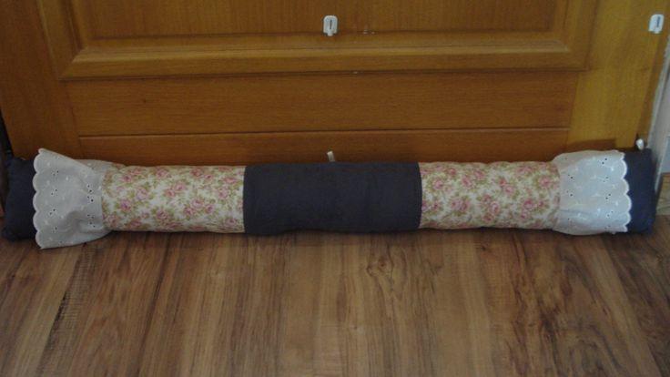 Boudin de porte shabby en coton fleuri et damassé gris : Textiles et tapis par rouge-lin-et-bois