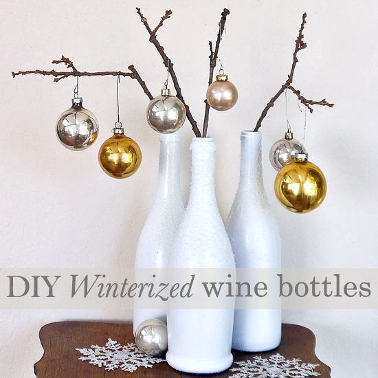 Winterized wine bottles that double as mini Christmas trees