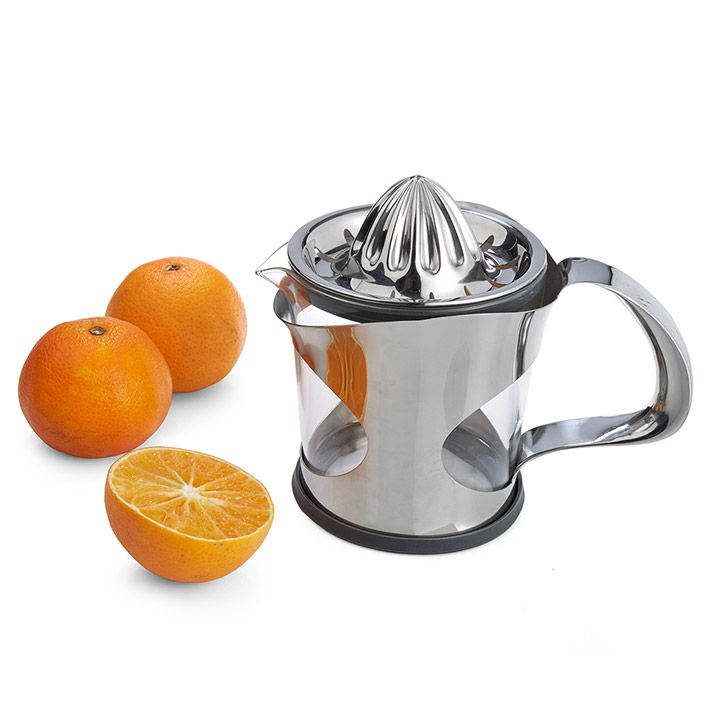 Zest is a modern and functional juicer with slits at the top, that only let the juice through.  It houses a big cup you can either drink from or use for serving.  Stand Zest's smiling face on the countertop, to dress up your kitchen.