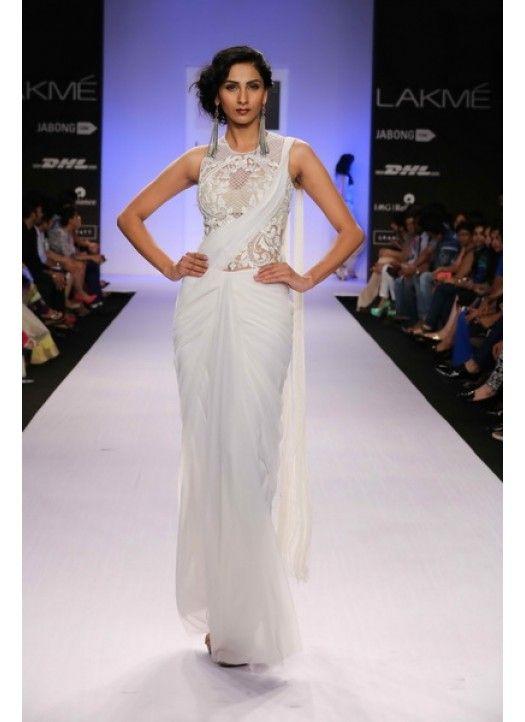 Lakme Fashion Week 2014 White Net Saree