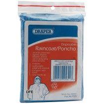 Draper Disposable Polythene Raincoat/Poncho with Hood