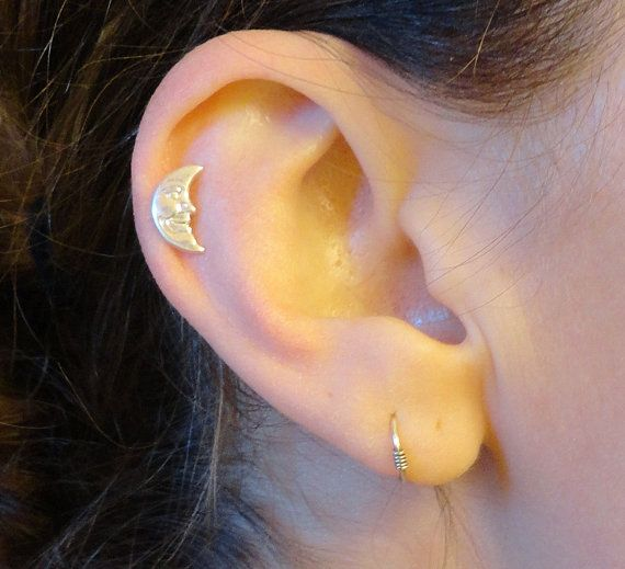 Moon with Face Tragus Piercing Cartilage Helix by MidnightsMojo, $8.00