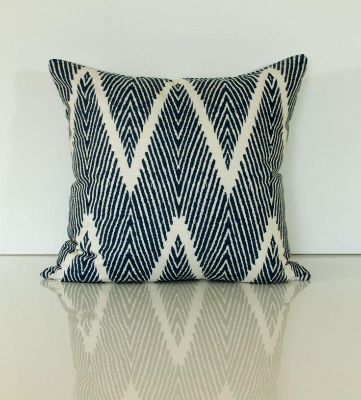 Navy Pillow - Chevron Throw Pillow - Lacefield Bali