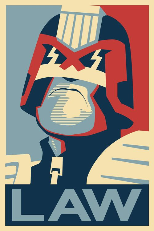 Justice Dept. say: OBEY…The Law!  Superb Judge Dredd, Shepard Fairey-inspired fan art from UK graphic artist, Mike Armstrong