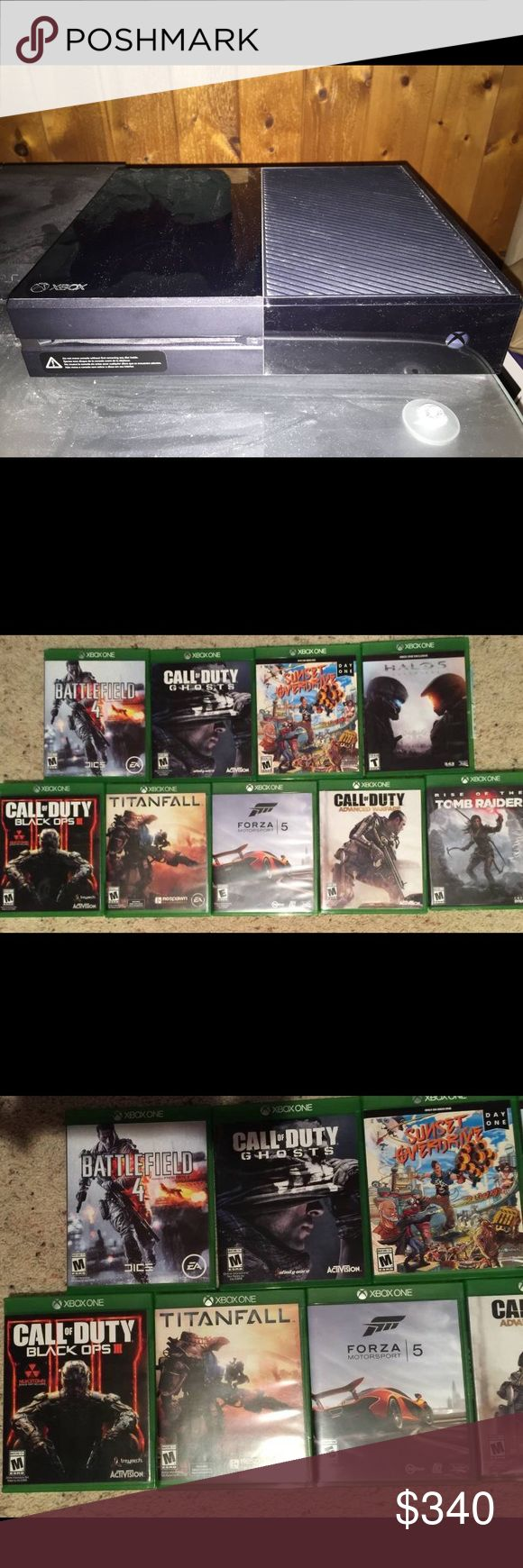 Xbox One day 1 edition 500GB console system+games Make me a reasonable offer!  I've got a excellent condition Xbox One day 1 edition 500GB console system.   Games: Rise of the Tomb Raiders  Halo 5 Sunset Overdrive -Day 1 edition Battlefield 4 Call of Duty Ghosts Forza 5 Call of Duty Advanced Warfare Titanfall Call of Duty Black Ops 3 Xbox 1 Other