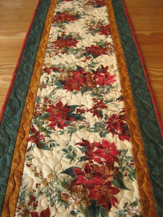Poinsettia Christmas Handmade Quilted Table Runner