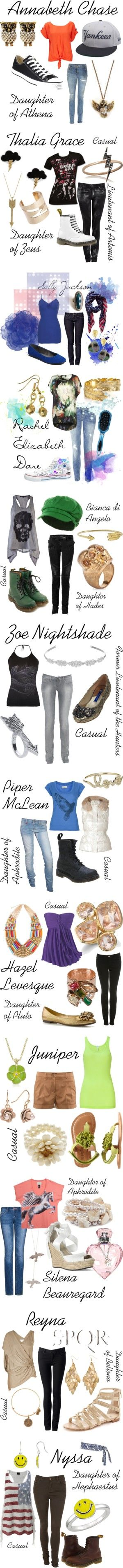 """Percy Jackson: Characters"" by ellalea ❤ liked on Polyvore--- And don't think Piper and Hazel are accurate, and I don't know who Nyssa is... But over all pretty good"