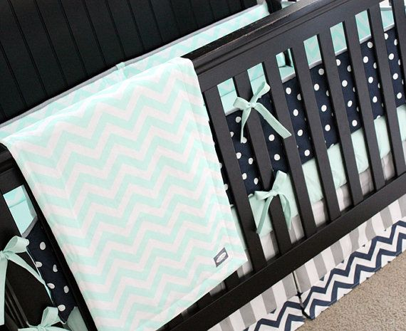 Crib Bedding - Mint Navy and Grey Baby Bedding, Mint Chevron Navy Dot Crib Set, Custom Crib Bedding