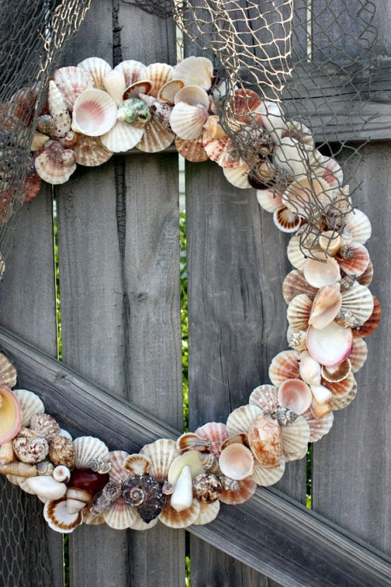 seashell wreath, wow!  I want to make one of these for our front door for summer.