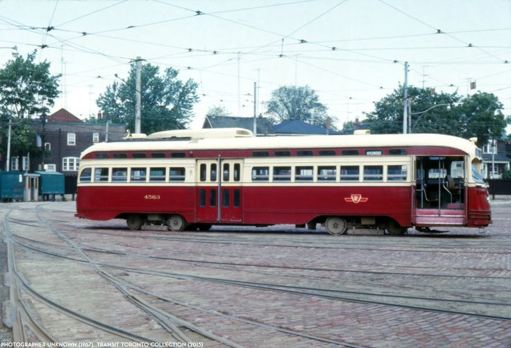 PCC 4563 TTC A9-class ex-Cincinnati all-electric PCC #4563 poses at St. Clair carhouse in this August 1967 shot.