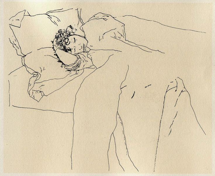 Contour Line Drawing Face : Egon schiele austrian 1890 1918 schlafendes paar [sleeping