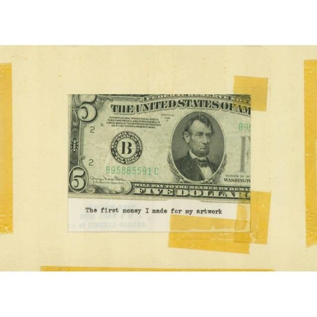 "Eva Hesse, ""The first money I made for my artwork"" (n.d.) (image via Allen Memorial Art Museum, Oberlin College)"