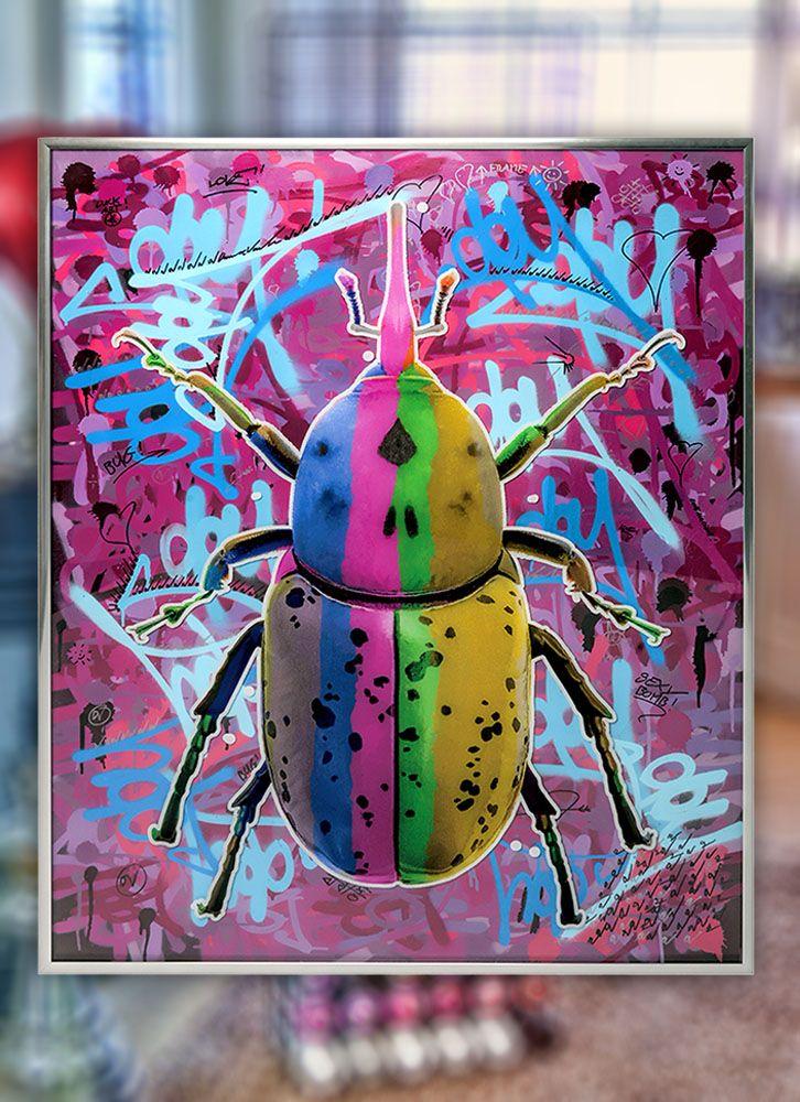 Bug artwork, beetles street art. Art for sale original artwork. Dominic Vonbern