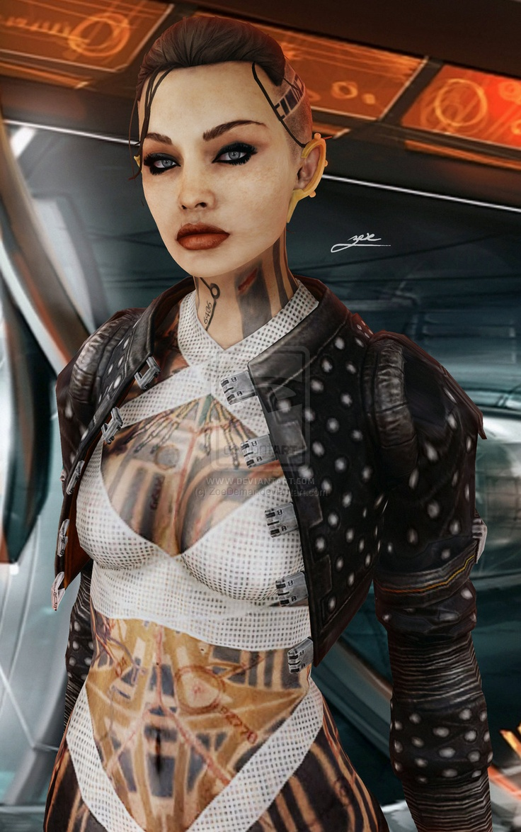 It may be rom Mass Effect but she could fit into Shadowrun Easily. Jack  by ~ZoeDemar - Mass Effect