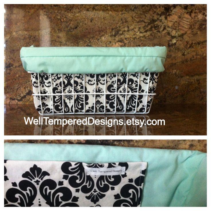 Turquoise damask custom bicycle basket liner