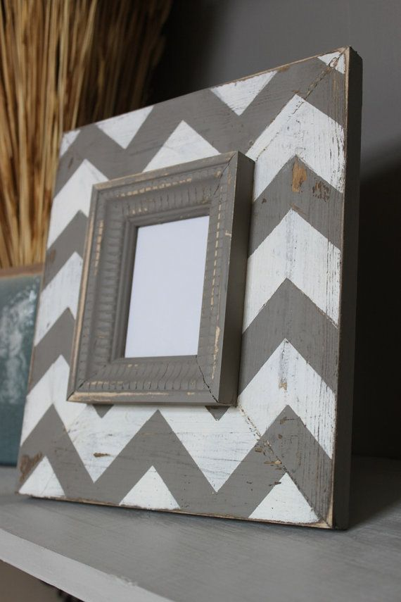 chevron photo frame.....this would be super easy to make at home or you can get one similar from the nate berkus collection at target-
