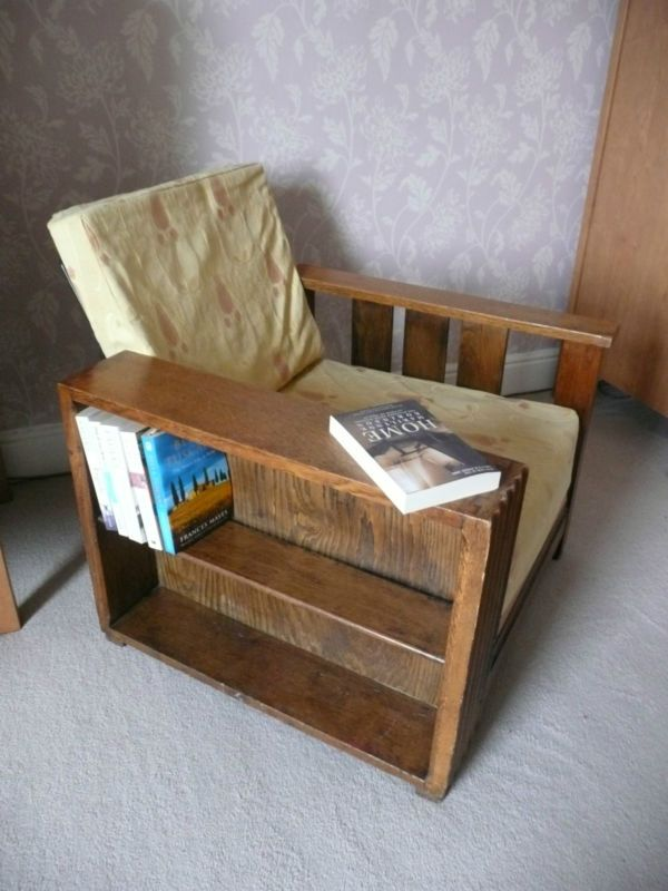 Arts and crafts style library bookshelf chair | eBay