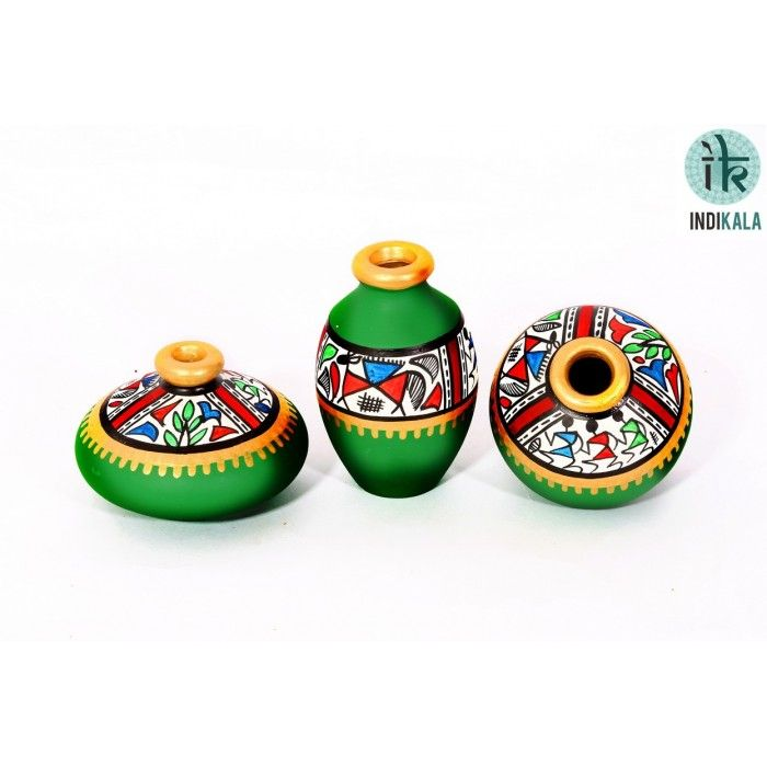 Name : Green Terracotta Warli Hand painted Miniature Pots : Set Of 3 Price : Rs 499/-  Buy Now at : http://www.indikala.com/green-terracotta-warli-hand-painted-miniature-pots-set-of-3.html #Handmade #Handicraft #Pots